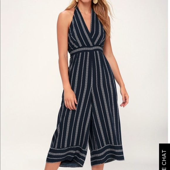 aae7d2a9dc9 Breeze the Day Navy Halter Jumpsuit from Lulus